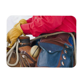 Cowboy on Horse wearing Leather Chaps Rectangular Photo Magnet