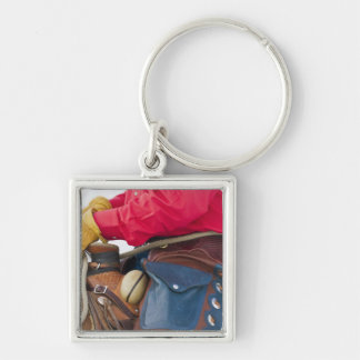 Cowboy on Horse wearing Leather Chaps Silver-Colored Square Key Ring