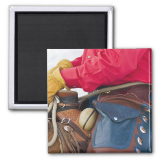 Cowboy on Horse wearing Leather Chaps Square Magnet