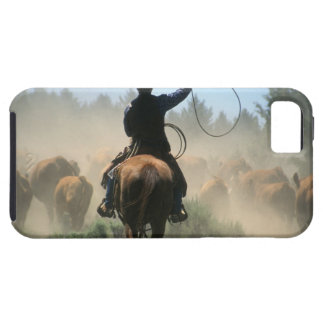 Cowboy on horse with lasso driving cattle case for the iPhone 5