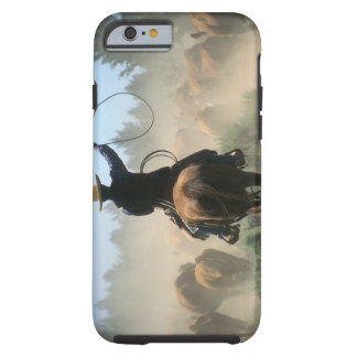 Cowboy on horse with lasso driving cattle tough iPhone 6 case