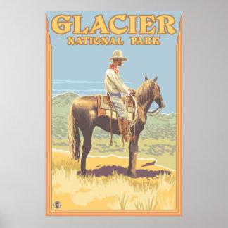 Cowboy on Horseback - Glacier National Park, MT Poster
