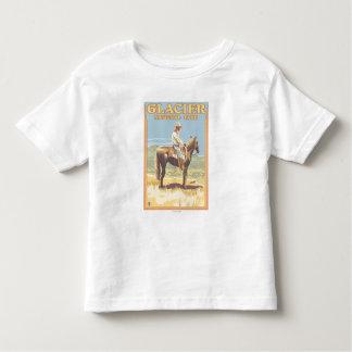 Cowboy on Horseback - Glacier National Park, Toddler T-Shirt