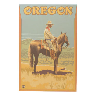 Cowboy on Horseback- Vintage Travel Poster