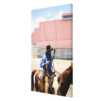 Cowboy on horseback with lasso, George Ranch, Canvas Print