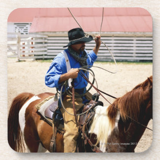 Cowboy on horseback with lasso, George Ranch, Coaster