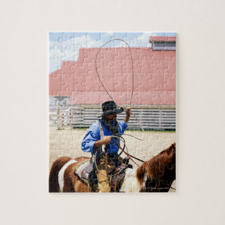 Cowboy on horseback with lasso, George Ranch, Jigsaw Puzzle