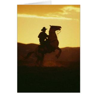 Cowboy on Rearing Horse Greeting Card
