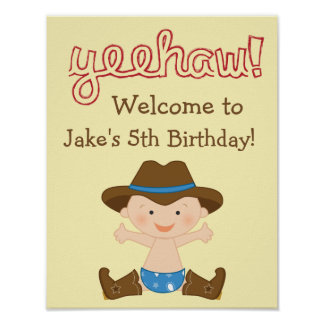 Cowboy Party Decor- Birthday Welcome Sign Poster