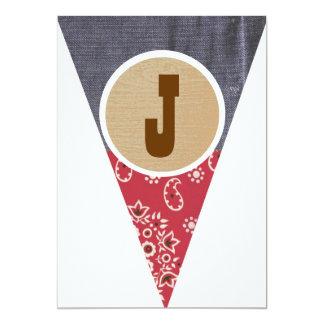 "Cowboy Pennant Letter J- 5"" X 7"" Invitation Card"