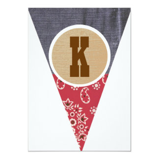 Cowboy Pennant Letter K- Personalized Invite