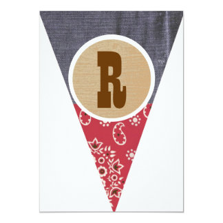 Cowboy Pennant Letter R- Personalized Invitations