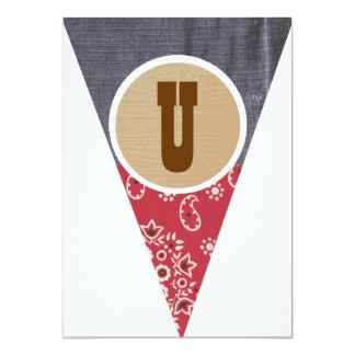 """Cowboy Pennant Letter U- 5"""" X 7"""" Invitation Card"""