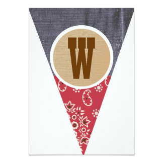 Cowboy Pennant Letter W- Personalized Invites