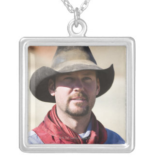 Cowboy portrait silver plated necklace