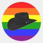 Cowboy Pride Round Stickers