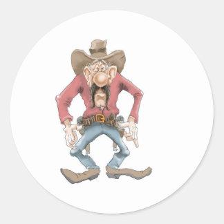 Cowboy ready to Draw Round Sticker