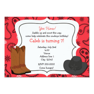 Cowboy Red Bandana Western Country Invitation