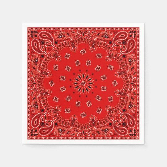 Cowboy Red Paisley Bandanna Scarf BBQ Picnic Paper
