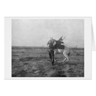 "Cowboy ""Red Saunders"" Saddles a Bronco Greeting Card"