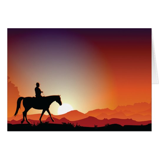 Cowboy Riding A Horse Greeting Cards