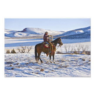 Cowboy riding a horse on the range on The Photo Print