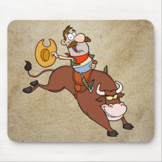 Cowboy-Riding-Bull-In-Rodeo Mouse Pad
