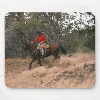 Cowboy riding downhill mouse mat