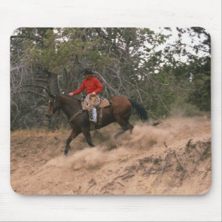 Cowboy riding downhill mouse pad