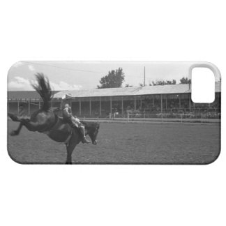 Cowboy riding horse in rodeo, (B&W) iPhone 5 Case