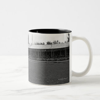 Cowboy riding horse in rodeo, (B&W) Two-Tone Coffee Mug