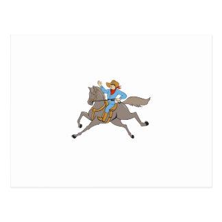Cowboy Riding Horse Waving Cartoon Postcard