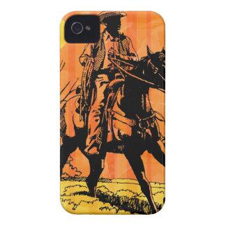 Cowboy riding horseback in desert iPhone 4 Case-Mate cases