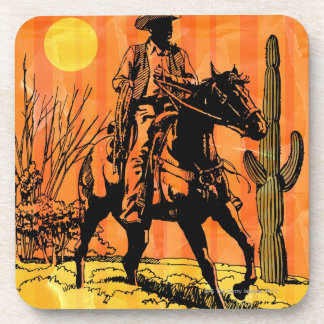 Cowboy riding horseback in desert coaster