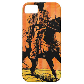 Cowboy riding horseback in desert iPhone 5 cases