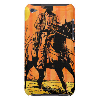 Cowboy riding horseback in desert iPod touch covers