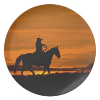 Cowboy riding in the Sunset with lariat Rope Dinner Plates