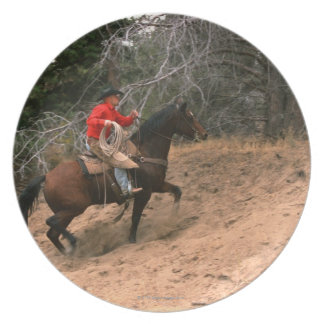 Cowboy riding uphill dinner plate