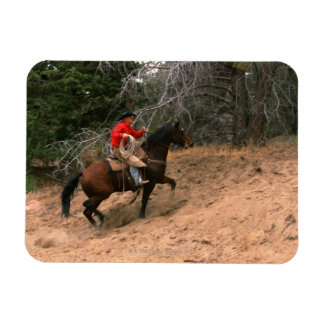 Cowboy riding uphill magnet