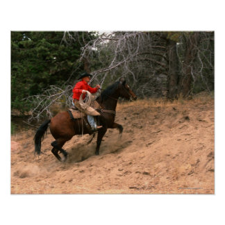 Cowboy riding uphill print