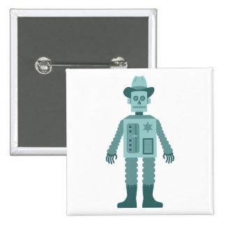 Cowboy Robot 15 Cm Square Badge
