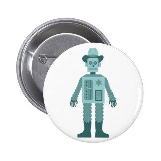 Cowboy Robot 6 Cm Round Badge