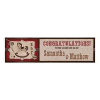Cowboy Rocking Horse Baby Shower Banner 2 Poster