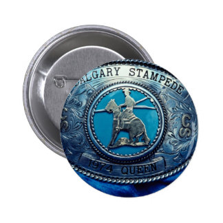 Cowboy rodeo trophy buckle, Alberta, Canada Pinback Buttons