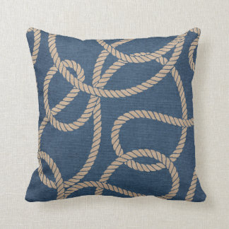 Cowboy Rope Pattern in Blue Cushion