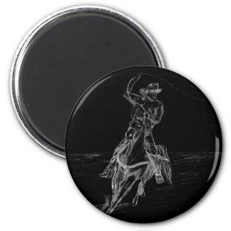 Cowboy Roping 6 Cm Round Magnet