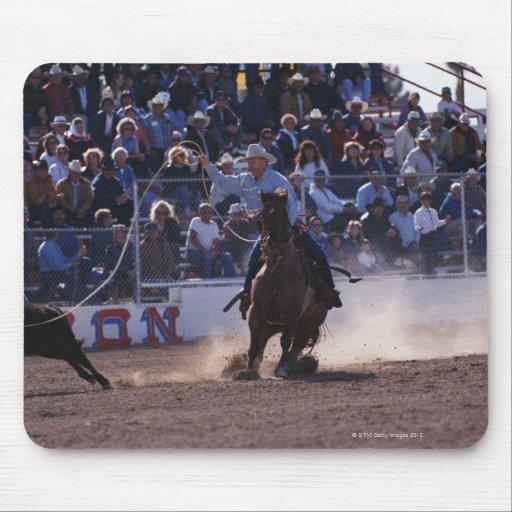 Cowboy Roping Calf at Rodeo Mouse Pad