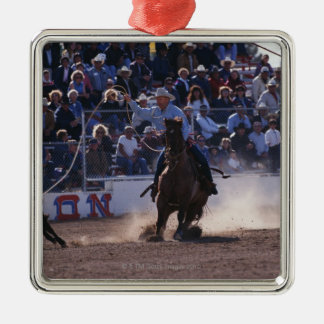 Cowboy Roping Calf at Rodeo Silver-Colored Square Decoration