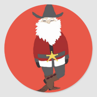 Cowboy Santa Sticker