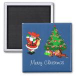 Cowboy Santa With Christmas Tree Merry Christmas Square Magnet